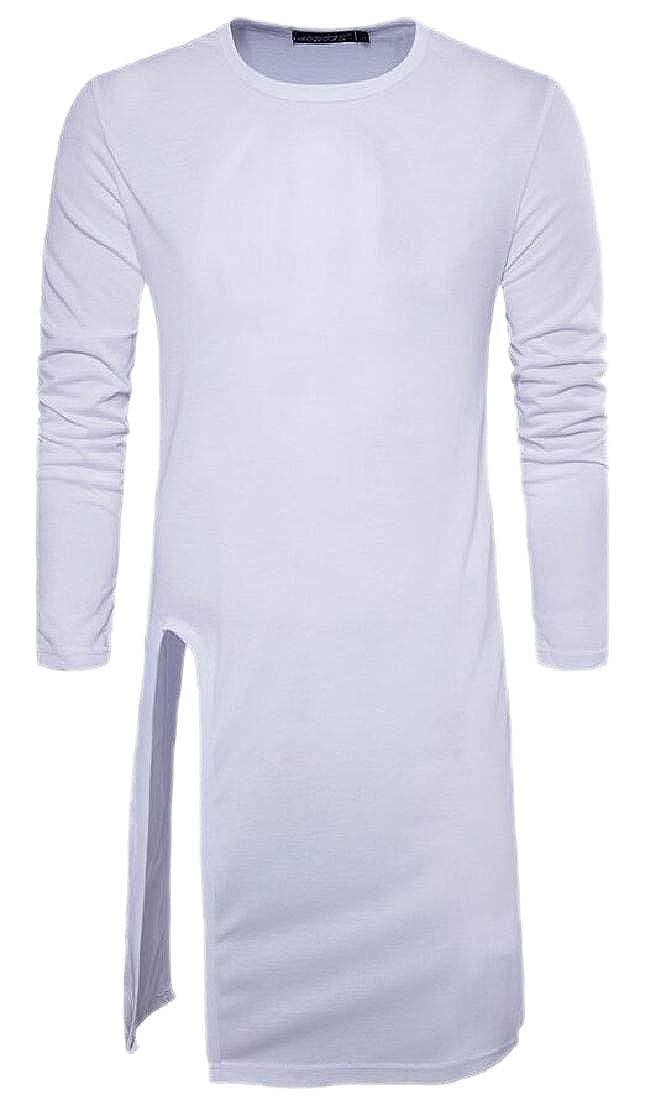 Men Hip Hop Basic Longline O Neck Long Sleeve T-Shirt Basic Tee