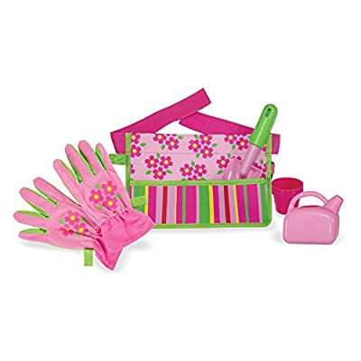 Melissa & Doug Sunny Patch Blossom Bright Garden Tool Belt Set With Gloves, Trowel, Watering Can, and Pot: Melissa & Doug: Toys & Games