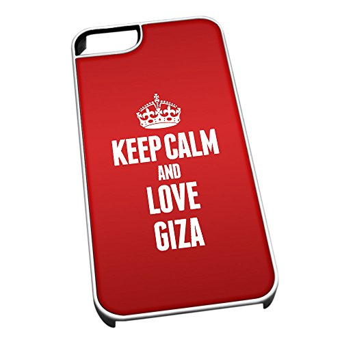 Bianco cover per iPhone 5/5S 2333Red Keep Calm and Love Giza