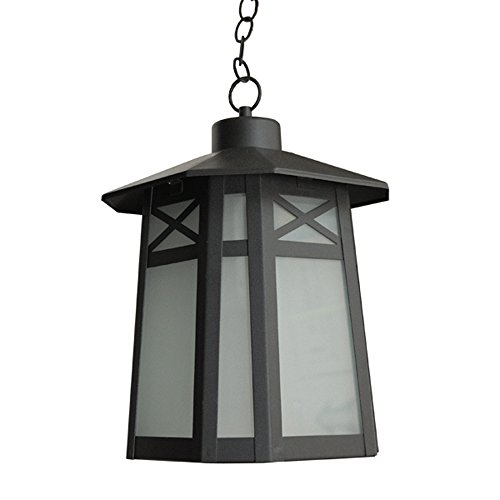 eTopLighting Liu Collection Oil Rubbed Black Body Finish Exterior Pendant Hanging Outdoor Light with Frost Glass APL1293 by eTopLighting
