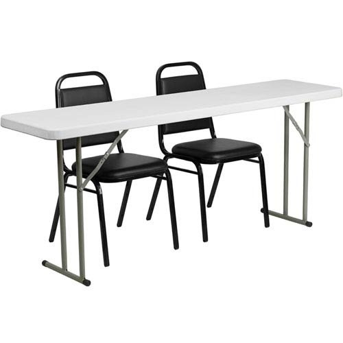 Parkside 18 in. x 72 in. Plastic Folding Training Table with 2 Trapezoidal Back Stack Chairs