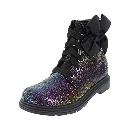 Nickelodeon Black Rainbow Glitter Girls' JoJo Moto Boot 2 Regular ()