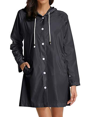 GRACE KARIN Womens' Waterproof Lightweight Raincoat Hooded Long Rain Jacket (X-Large,Black)