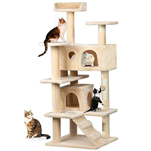 Beige Cat Tree Condo Kitten House Tower Scratcher 52
