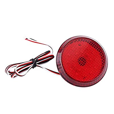 Auto Car Light Assembly,6.8cm Car Tail Rear Bumper Reflector Light, Rear Bumper Reflector Lamps Fog Brake Stop Lamp Car Accessory (Red): Automotive
