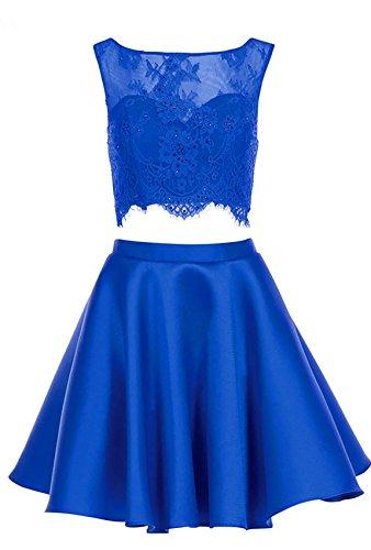 Pelle Robes De Retour À La Maison De Bal Perles Courte Dentelle 2 Pièces Robes De Fête Pour La Lumière Brl24 Junior Bleu