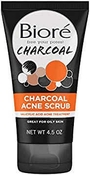 Bioré Charcoal Acne Face Scrub, with 1% Salicylic Acid and Natural Charcoal, Helps Prevent Breakouts and Absor