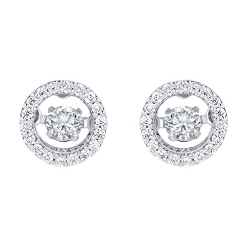 Olivia Paris 14K White Gold Dancing Diamond 1/4 Carat ctw (H-I, SI2-I1) Stud Earrings ()