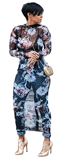 Dress Floral Through Neck Blue Sexy Sleeve Didala Crew Womens Clubwear Printed Mesh See Long qT7wxYv