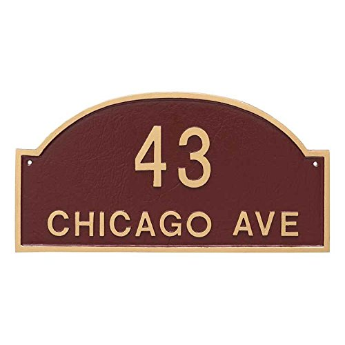 Comfort House Metal Address Plaque Personalized With Arch Top. Display your house number and street name. Custom house number sign 67813F2 wall mount. by Comfort House