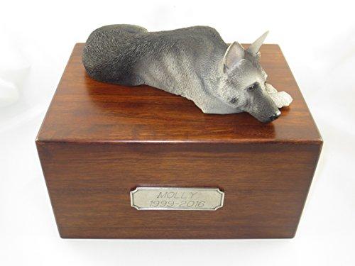 (Beautiful Paulownia Large Wooden Urn with Black & Silver German Shepherd