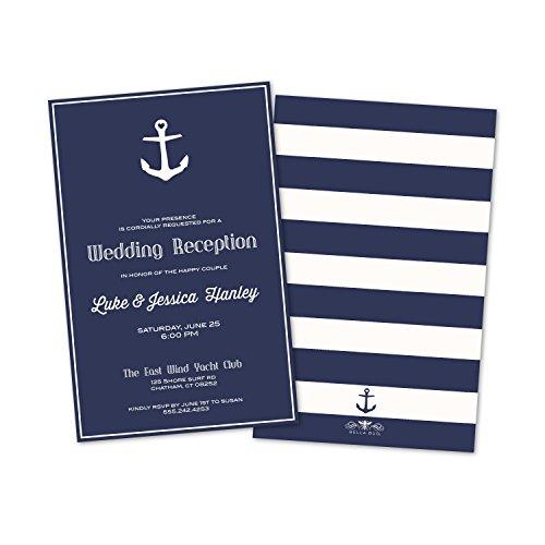 (Set of 10 Nautical Anchor Personalized Wedding Reception)