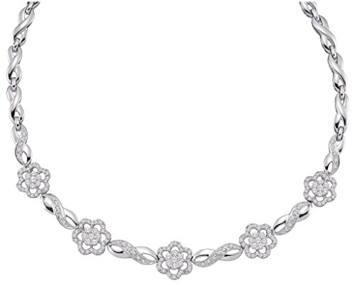 Roy Rose Jewelry 14K White Gold Womens Round Diamond Infinity Flower Cluster Necklace 2-Carat tw ()