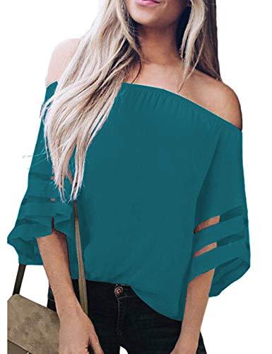 (TECREW Women's Off Shoulder 3/4 Bell Sleeve Chiffon Blouse Tops Casual Mesh Panel T)