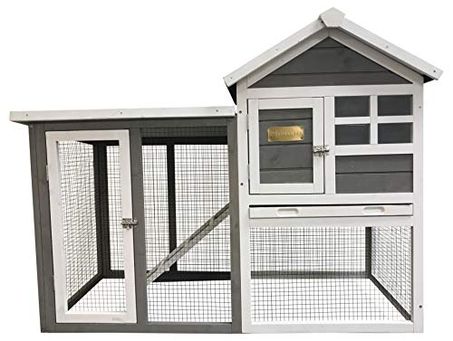 Advantek Grey Stilt House Rabbit Hutch with Connected Run, Easy Cleaning - Fits 1-2 Rabbits