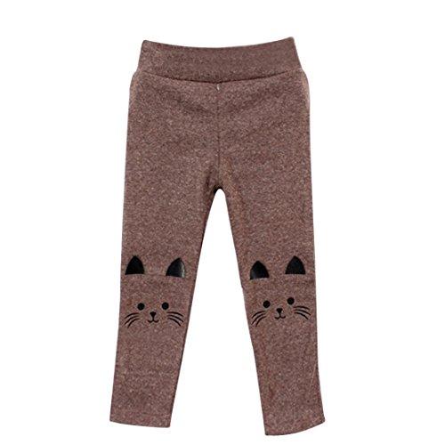 Baby Kids Girl Boy Wool Stretch Cartoon Pencil Pants Long Tights Bottom Leggings (24M-3T(24 Months-3 Years), Brown) ()