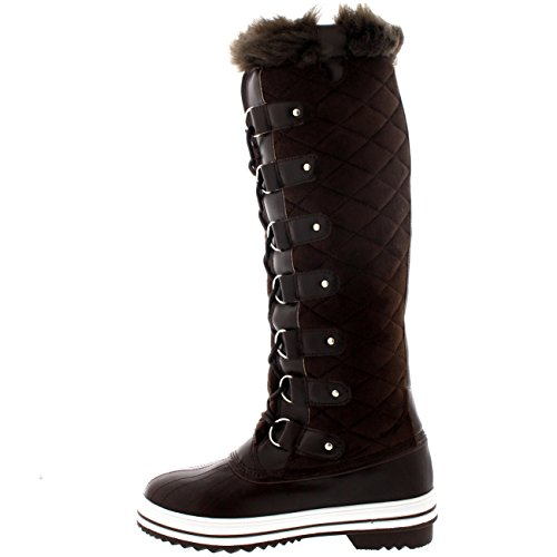 Polar Produkte Womens Stepp Kniestrumpf Duck Rain Lace Up Muck Schnee Winter Stiefel Braunes Wildleder