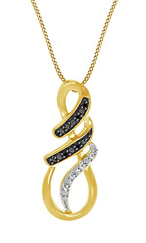 Simulated Black Spinel & White Cubic Zirconia Infinity Drop Pendant in 14k Yellow Gold Over Sterling Silver (0.03 Cttw)