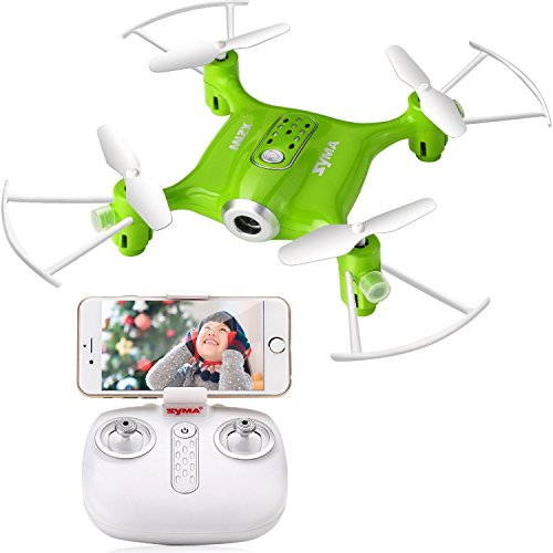 Syma X21W Mini RC Drone with Camera Live Video, 2.4GHz 6-Axis Gyro FPV WiFi App Controlled LED Quadcopter Drone for Kids & Beginners with 3D Flips, Headless Mode, Altitude Hold.Green by DoDoeleph