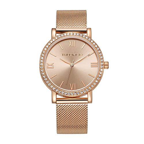 TREEWETO Women's Analog Quartz Rose Gold Wrist Watch with Stainless Steel Mesh Strap Ladies Watches Roman Numerals Dial Elegant ()