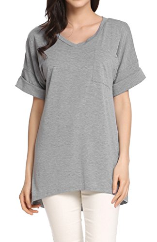 r Casual V Neck Tee Shirt Loose Roll Over Short Sleeve Lightweight Tops Blouse(M, Gray) (Roll Neck T-shirt)