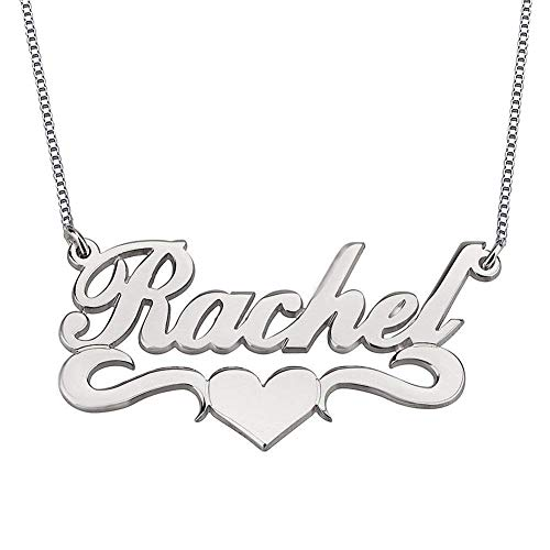 HACOOL Personalized Heart 925 Sterling Silver Name Necklace Pendants Custom Made with Any Names (Silver) 925 Sterling Silver Nameplate