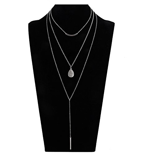 ho 3 Layered Bar Pendant Necklaces for Women Girls Multi Layer Neck Dainty Choker Y Shaped Lariat Statement Necklace Adjustable ()