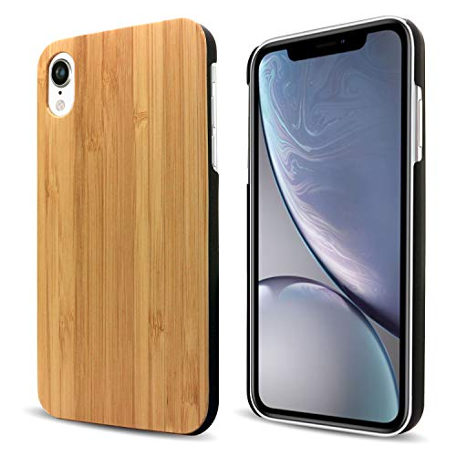 iPhone XR Case Wood, Real Bamboo Wooden Snap On Hard Case Unique Protective Cover for iPhone XR by Cbus Wireless - Supports Wireless Charging