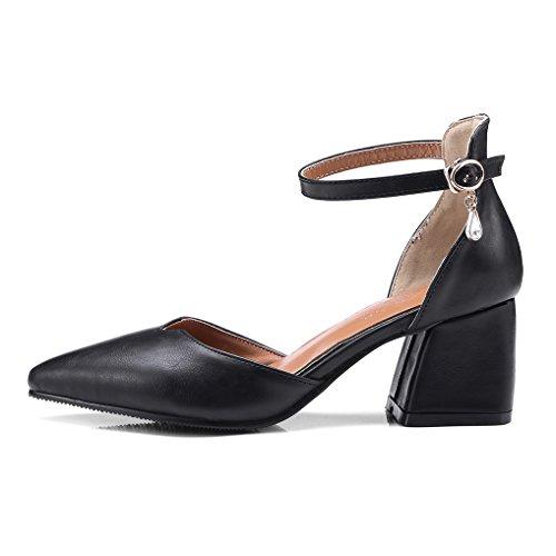Sandales Sexy Haut Talon OALEEN Chaussures Escarpins Femme Bride Pointu Bout Bloc Classique Soirée Cheville Noir 5Cw1PqYqx