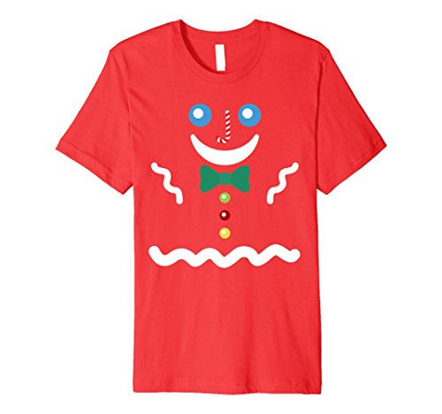 Simple Gingerbread Man Costume (Mens Gingerbread Man Holidays Costume T-shirt XL Red)
