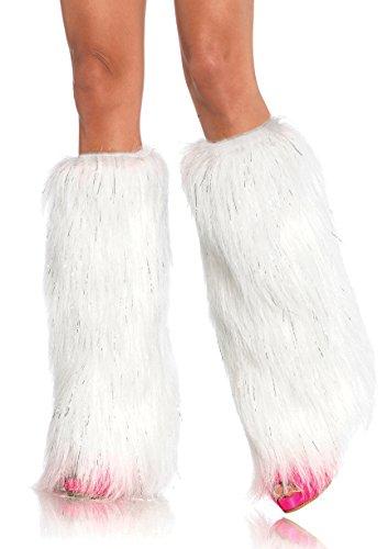 Leg Avenue Faux Fur Lorax Legwarmers for Women, White/Silver, One (Faux Leg Warmers)