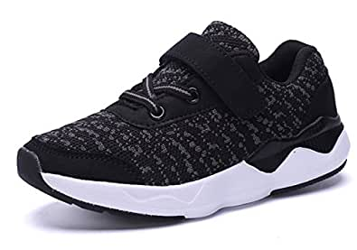 KARIDO Toddler Kids Lightweight Breathable Sneakers Athletic Running Shoes for Boys Girls A-Black 32