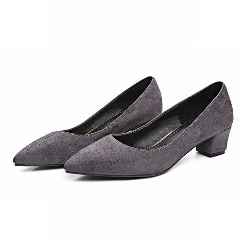 Charme Pied Femmes Confort Bout Pointu Chunky Talon Bas Pompes Chaussures Gris