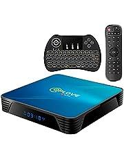 Android TV BOX 10.0, Q8 Smart TV Box 4GB RAM 64GB ROM RK3318 64bits Cortex-A53 CPU 2.4GHz / 5GHz Dual WiFi 4K 3D UHD BT4.0,100M LAN, USB 3.0 TV Box Android met Mini Keyboard Wireless