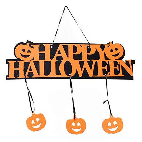 discountstore145 Halloween Hanging Hangtag,Happy Halloween Letter Plate Pumpkin/Skull/Bat