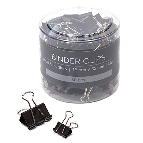 U Brands Binder Clips, Assorted Sizes, Small 3/4-Inch Width and 1/3-Inch Paper Holding Capacity, Medium 1-1/4-Inch Width and 1/2-Inch Paper Holding Capacity, Black and Silver Steel, 80-Count