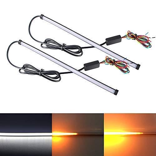 Xinfok 2PCS 30CM Universal LED Car Strip Turn Signal Brake Light 5 mode Switchback Flowing Knight Car DRL LED Strip