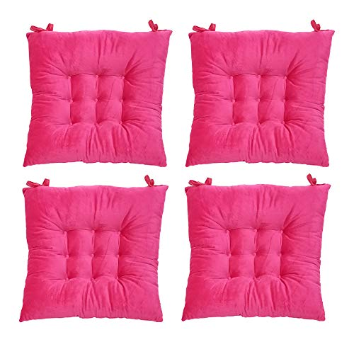 Hevice Chair Pads, Chair Seat Pad Cushions Mat for Home Office Kitchen Patio Indoor Dining Furniture Decor in, 4 Packs Rose 15