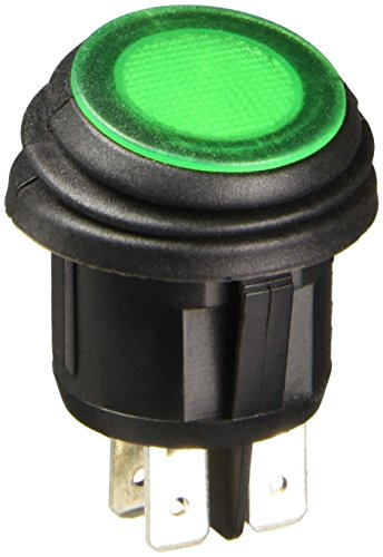 NTE Electronics 54-209W Waterproof Round Illuminated Rocker Switch, DPST Circuit, ON-NONE-OFF Action, PC Green Neon Actuator, 0.187