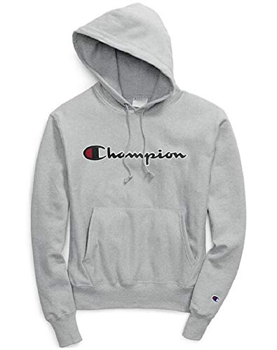 - Champion Life Women's Reverse Weave Pullover Hood (Small, Oxford Grey/Chainstitch Script)