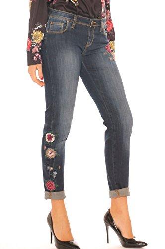 denim skinny con floreale Jeans Key ricamo Di Jeans donna cotone stretch in UEUXgqAw