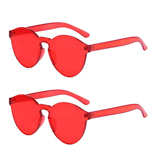 One Piece Rimless Sunglasses Transparent Candy Color Tinted Eyewear (Red 2 ()