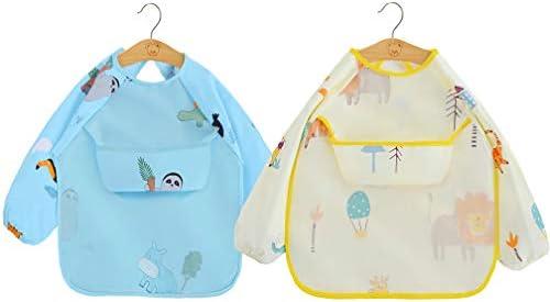 2 Paquetes Babero con Mangas Impermeable Baberos de Alimentación para Bebés con Mangas Largas Algodón Delantal Lavable del Bebé por 6-36 Meses Niños Comiendo Pintura y Jugando: Amazon.es: Bebé
