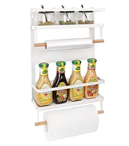 Haturi Magnetic Shelf, Magnetic Paper Towel Holder Fridge Spice Rack Kitchen Refrigerator Organizer Rack with 5 Removable Hooks (Large,White)
