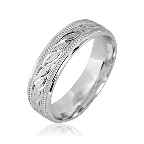 Fancy Designer 6mm .925 Sterling Silver Wedding Band Ring Men's & Women's (8)