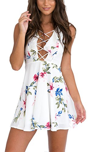 [Nawoshow Women's Sexy Summer Sleeveless Flora Print Casual Short Dress (Medium)] (Floral Short Dress Shorts)