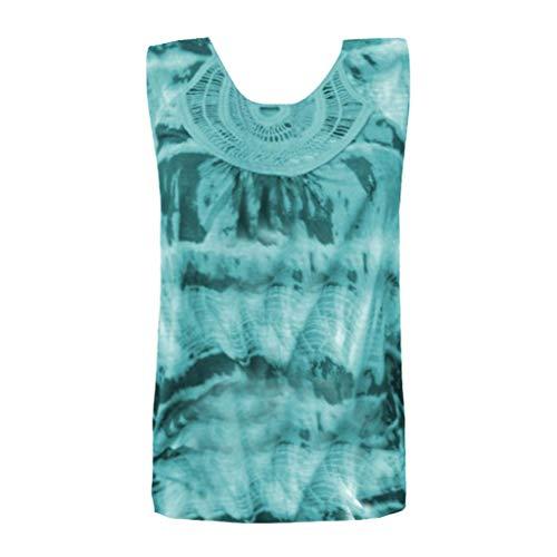 (JMETRIE Women Fashion Round Neck Sleeveless Lace Patchwork Tie Dye Printing Tank Top Sky Blue)