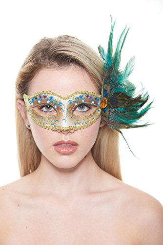 KII Saloon Rhinestone & Peacock Feather Masquerade Mask (Unisex; One Size Fits Most; -