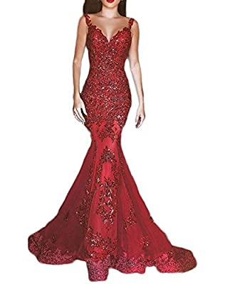 OYISHA Womens Sequins Mermaid Evening Dresses Long V-Neck Sexy Prom Gowns EV44