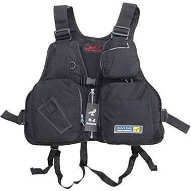 Kayak Life Vest Adult adjustable Buoyancy Aid Sailing Canoeing Fig Jacket (Black)